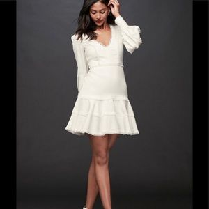 Bardot Praiano Trim Fit and Flare White Ruffle